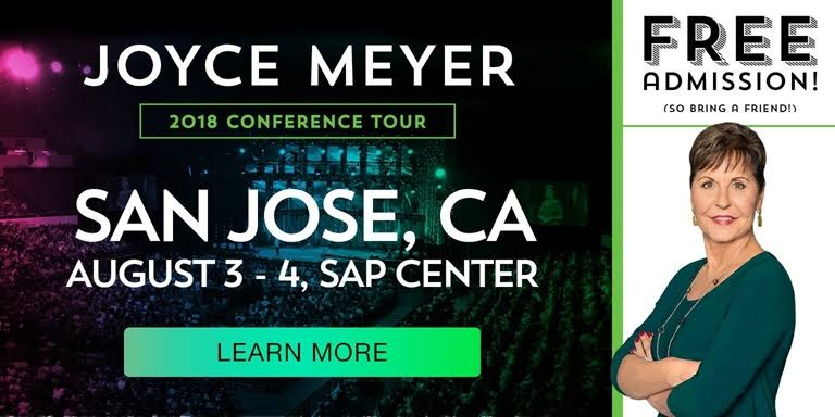 Photo of Joyce Meyer and the SAP center in San Jose
