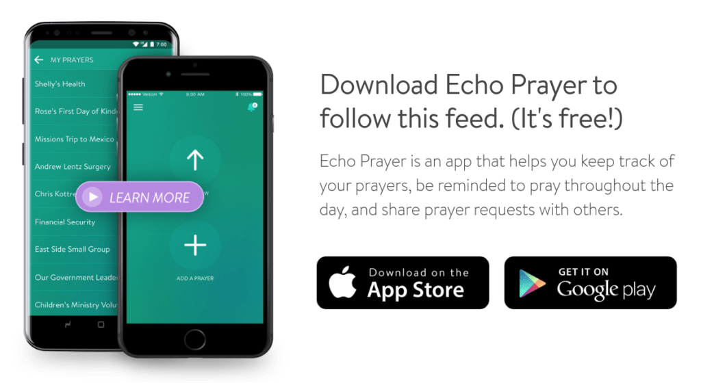 Download the Echo Prayer App and Follow Christ the King Tahoe City.